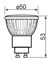 led žárovka GTV GU10 7,5W rozměr